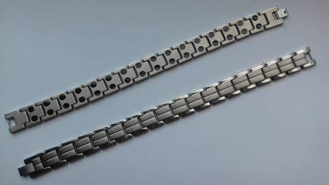 Men's Titanium, Silver, Double Magnetic, Bracelet