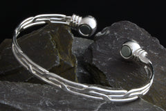 Ladies Silver Finish Copper Magnetic Bangle