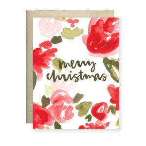 Merry Christmas (Roses and Holly) Card
