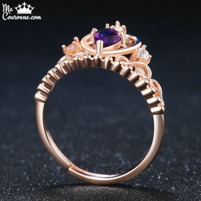 Bague Couronne Argent 925 Or Rose