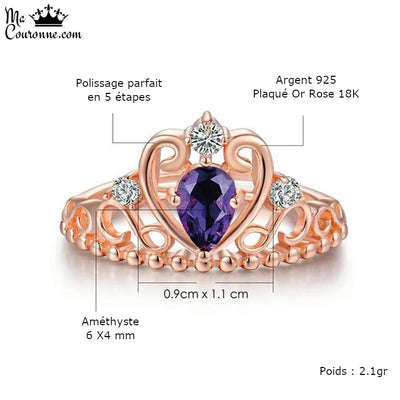 Bague Couronne Or Rose Dimensions