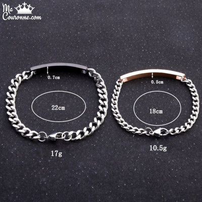 Bracelet Couple Distance Couronne Inox