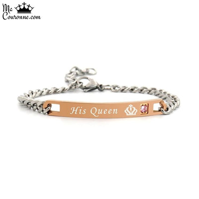 Bracelet Couple Distance Couronne ma Reine