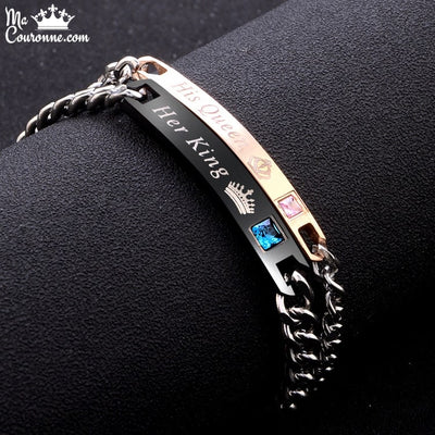 Bracelet Couronne Distance Couple