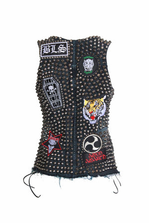 Metal Babe Studded Black Denim Vest