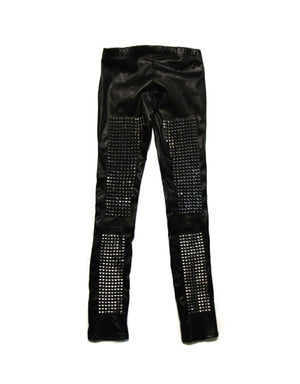 Hazmat Design armor heavy metal studded stretch leather leggings rock  metal rocker rock style
