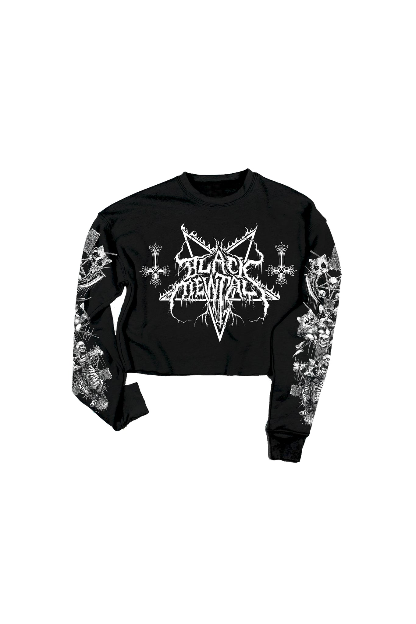 Black Mewtal Crop Crew Fleece