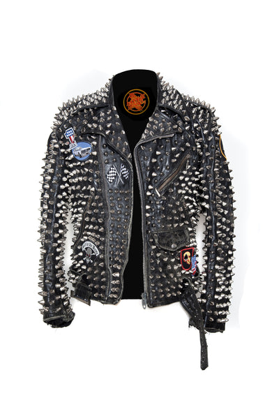 Overkill Studded Leather Jacket Hazmat Design