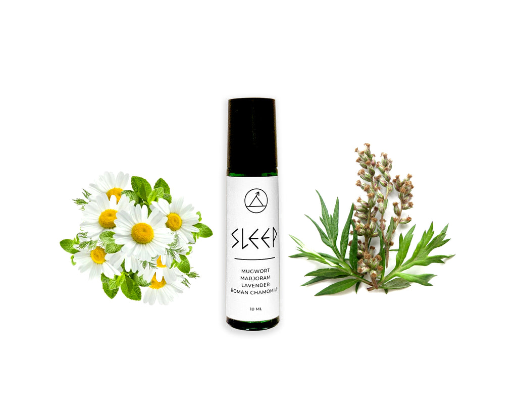 Sleep Roll On blend containing essential oils of Mugwort, Marjoram, Lavender, and Roman chamomile in Jojoba oil.