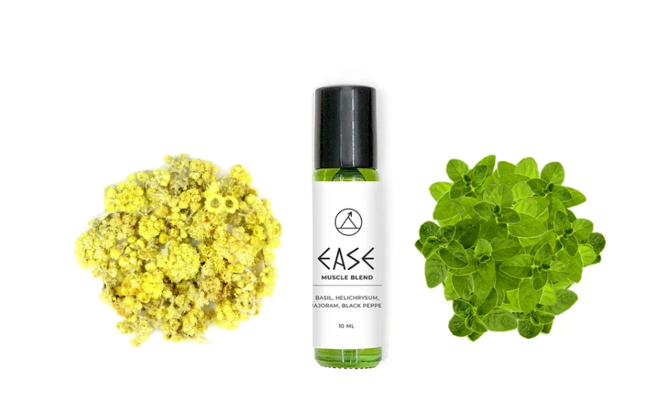 Ease Muscle blend roll on containing essential oils of basil, helichrysum, marjoram, and black pepper in jojoba oil.
