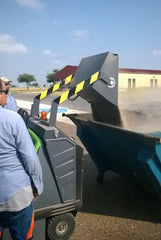 1404 Vacuum Industrial Sweeper by IPC Sold by Proline Watertown SD - dust pan in action