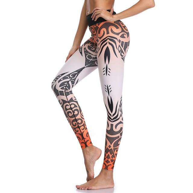LI-FI Women Yoga Pants Sports Leggings White Print Fitness Wear Workout Sports Running Leggings Push Up Gym Elastic Slim Pants
