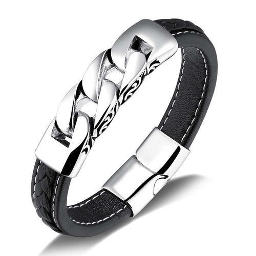Men Classic Stainless Steel Leather Wristband Fashion Bangle Bracelet