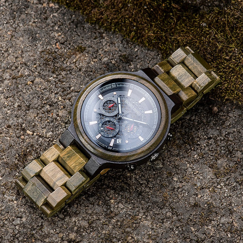 BOBO BIRD Green Sandalwood Wooden Men Timepiece Chronograph Ultra-Light Watch