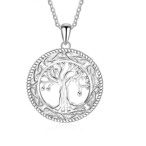 Tree of Life Round Link Chain Pendant Necklace