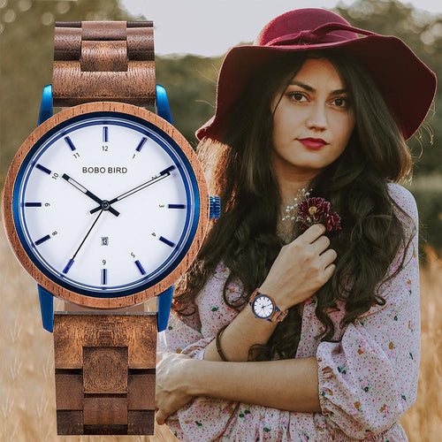 BOBO BIRD Ladies Wood Quartz Waterproof Wristwatch