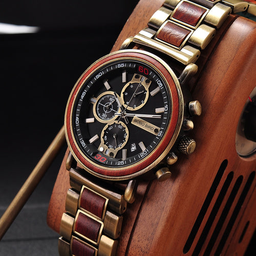 BOBO BIRD Luxury Brand Wood Chronograph Military Men Watch in Wooden Box