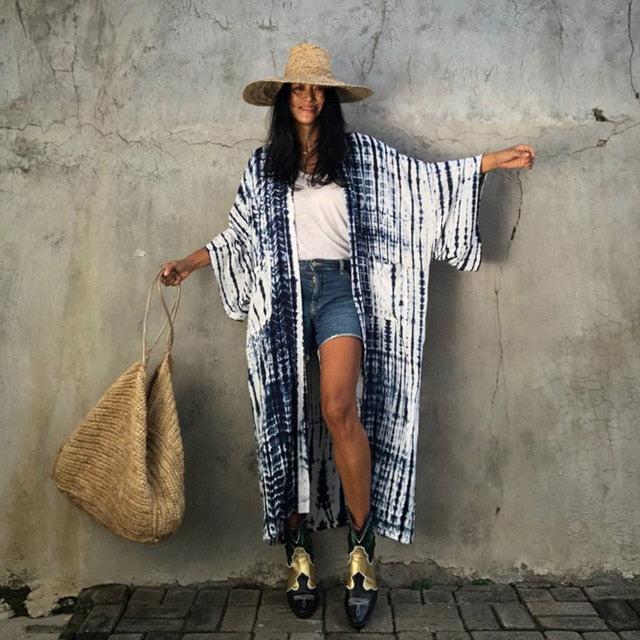 Retro Bohemian Striped Ankle-Length Loose Tunic Dress