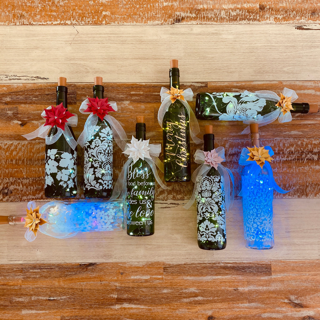 Bottled Christmas lights - Floral