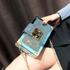 Lunchbox Style, Glitter and Sequined Party Clutch