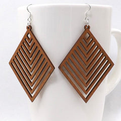 Geometric Leaflet Wooden Earrings