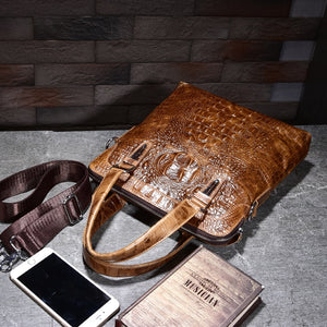 Crocodile Skin Crossbody Satchel