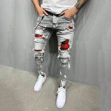 Load image into Gallery viewer, Plaid Patch Ash Jeans