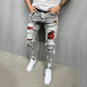 Plaid Patch Ash Jeans