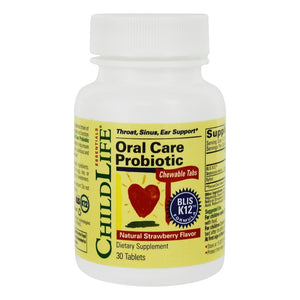 Child Life Essentials - Oral Care Probiotic Natural Strawberry Flavor - 30 Chewable Tablets