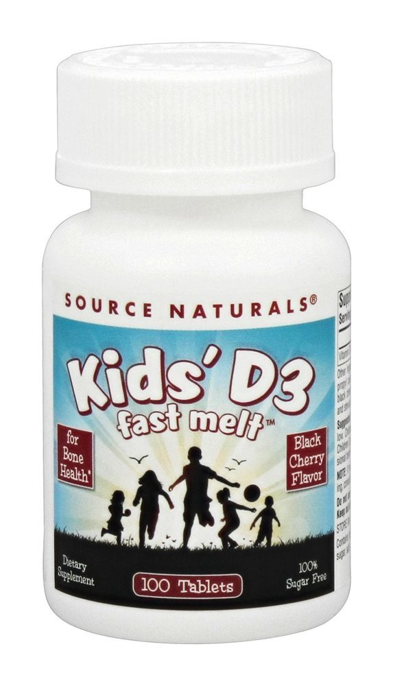 Source Naturals - Kids' D3 Fast Melt Black Cherry - 100 Tablets