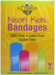 All Terrain Kids Neon Bandages, Latex-Free, Fun Neon Colors, 20 Sterile Bandages – Assorted Sizes