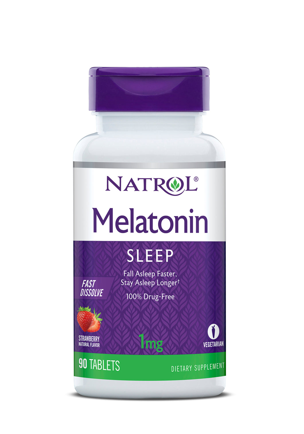 Natrol Melatonin Fast Dissolve Tablets, Strawberry flavor, 1mg, 90 Count