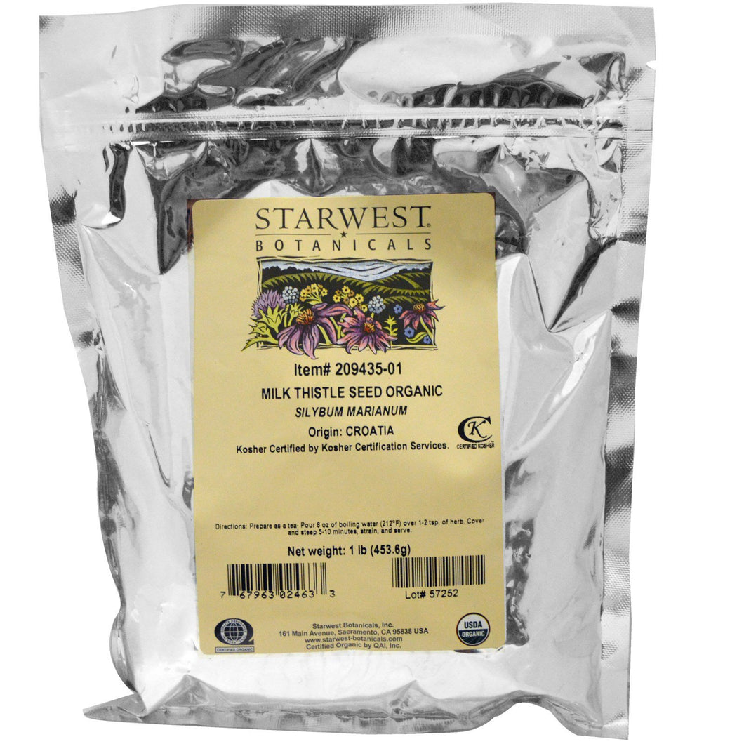 Starwest Botanicals Milk Thistle Seed Whole, Organic, 1 lb (453.6 g)