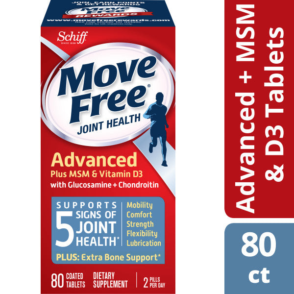 Move Free Advanced Plus MSM and Vitamin D3, 80 count - Joint Health Supplement with Glucosamine and Chondroitin