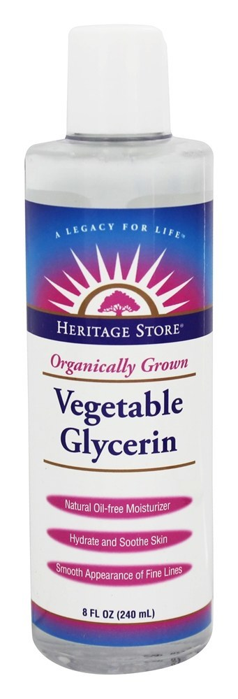 Heritage Vegetable Glycerin, Organic | Non-Oil Moisturizer For Face & Body Care, Hair Care | No Fragrance or Gluten | 8oz