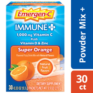 Emergen-c immune+ vitamin C Powder, super orange, 1000 mg, 30 ct