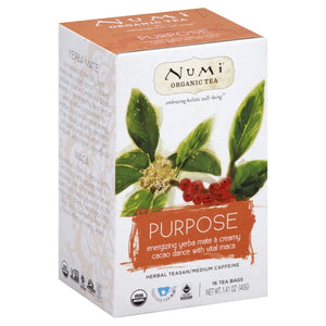 (Price/case)Numi Tea Organic Herb Tea -Purpose - Case of 6 - 16 count