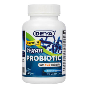 Deva Nutrition Vegan Premium Probiotic With FOS Prebiotics Vegan Capsules, 90 Ea