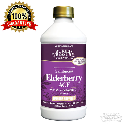 Buried Treasure Elderberry ACF with 4,000 mg Elderberry Sambucus Whole Fruit Concentrate, Vitamin C Plus Raw Local Honey Liquid Immune Support