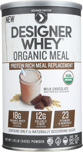 DESIGNER PROTEIN WHEY: Designer Whey Meal Preparation Powder Chocolate Organic, 1.21 lb