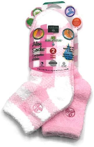 Aloe Moisture Socks by Earth Therapeutics Pink Plaid - Infused with Natural Aloe Vera & Vitamin E - 2 Pack