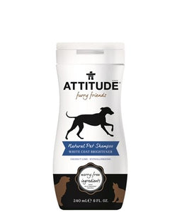 Attitude furry friends natural pet shampoo white coat brightener, 8-oz bottle