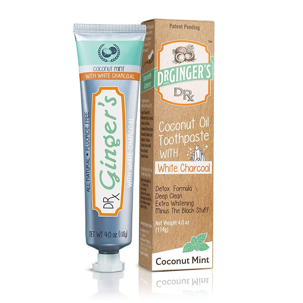 Dr. Ginger's Coconut Oil Toothpaste with White Activated Charcoal | Extra Whitening | 100% Natural | Fluoride Free | Supports Healthy Gums | Great Coconut Mint Taste