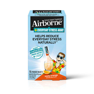 Airborne Stress Away Immune Support Supplement, Zesty Orange (16 Powder Packets)
