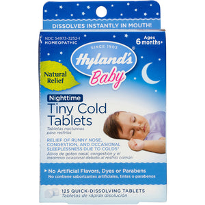 Hyland's Baby Nighttime Tiny Cold Tablets, Natural Relief of Runny Nose, Congestion, and Cold Symptoms at Night, 125 Quick-Dissolving Tablets