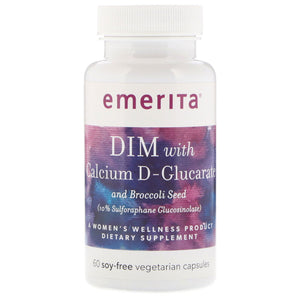 Emerita DIM Formula with Calcium D-Glucarate | Women Health & Dietary Supplement | Optimal Balance Nutritive Support | 60 No Soy Veg Caps