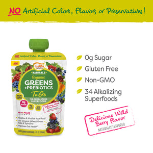 Healthy Delights Greens + Prebiotics To Go Squeeze Pouch, Wild Berry Flavor, 4 fl. oz. (118mL), Pack of 6