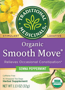 Traditional Medicinals, Organic Smooth Move Tea Bags, Peppermint, 16 Count