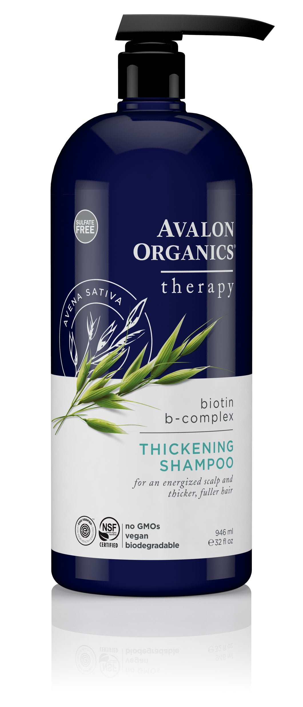Avalon Organics Biotin B-Complex Thickening Therapy Shampoo, 32 Ounce Bottle
