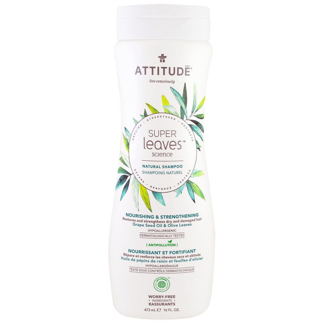 ATTITUDE  Super Leaves Science  Natural Shampoo  Nourishing   Strengthening  Grape Seed Oil   Olive Leaves  16 oz  473 ml
